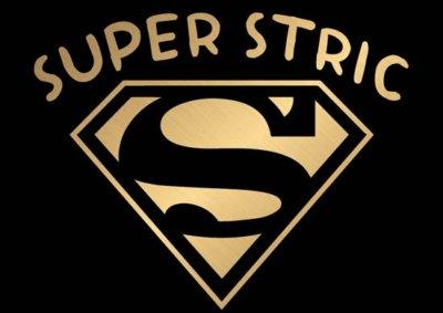 Smešna-majica-super-STRIC-logo-zlat-crna-majica