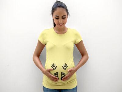 rumena-nosečniška-majica-rokice-in-nogice-rumena-in-nogice-rumena